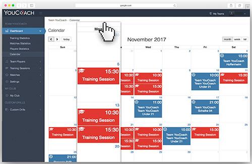 Calendar new function of MyCoach
